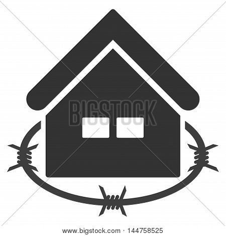 Prison Building icon. Vector style is flat iconic symbol, gray color, white background.