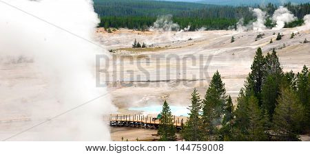 Construction of new and safer walkway through Norris Geyser Basin continues in Yellowstone National Park.