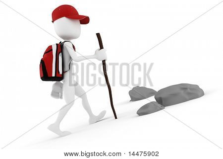 3d man tourist with a big red backpack climbing on a mountain