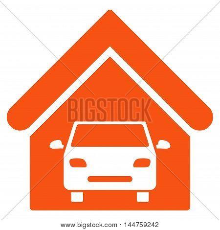 Car Garage icon. Vector style is flat iconic symbol, orange color, white background.