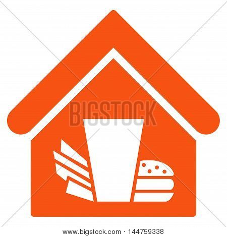 Fastfood Cafe icon. Vector style is flat iconic symbol, orange color, white background.