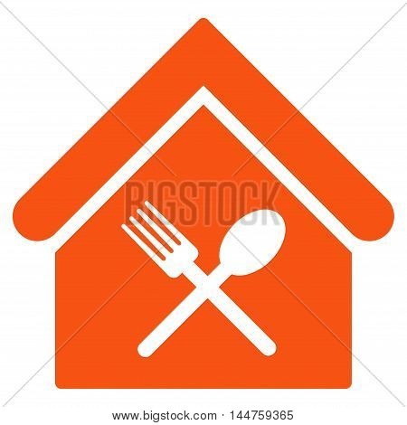 Food Court icon. Vector style is flat iconic symbol, orange color, white background.