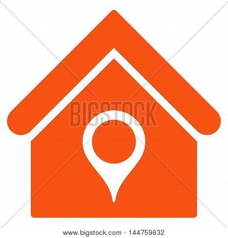 House Location icon. Vector style is flat iconic symbol, orange color, white background.