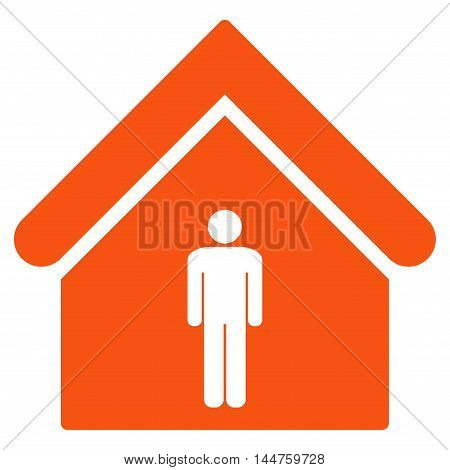 Man Toilet Building icon. Vector style is flat iconic symbol, orange color, white background.