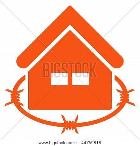 Prison Building icon. Vector style is flat iconic symbol, orange color, white background.