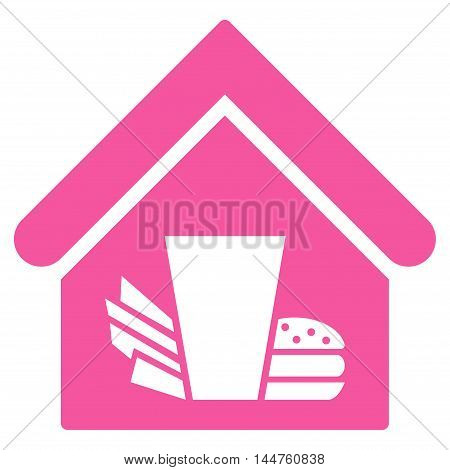 Fastfood Cafe icon. Vector style is flat iconic symbol, pink color, white background.