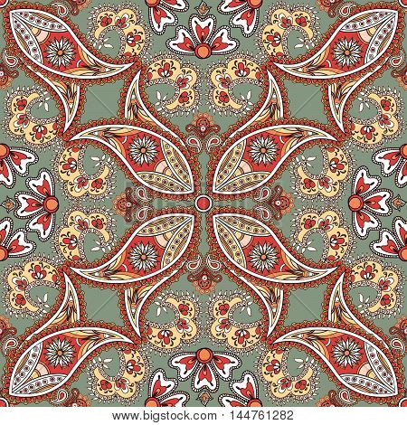 Flourish Tiled Pattern. Floral Oriental Ethnic Background. Arabic Ornament With Fantastic Flowers An