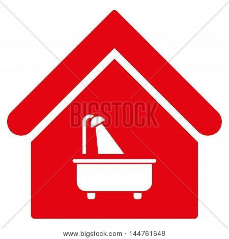 Bathroom icon. Vector style is flat iconic symbol, red color, white background.