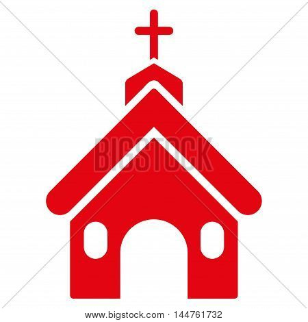Church icon. Vector style is flat iconic symbol, red color, white background.