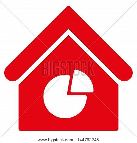 Realty Pie Chart icon. Vector style is flat iconic symbol, red color, white background.