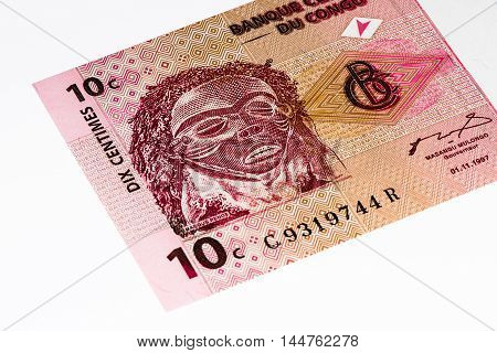 10 centimes bank note of Congo. Centimes is one of the currencies of Congo