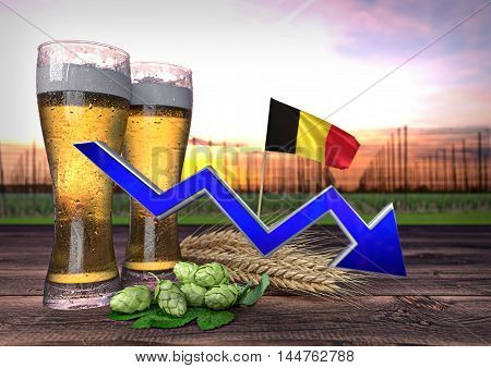 declining beer consumption in Belgium - 3D render