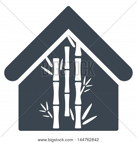 Bamboo House icon. Vector style is flat iconic symbol, smooth blue color, white background.