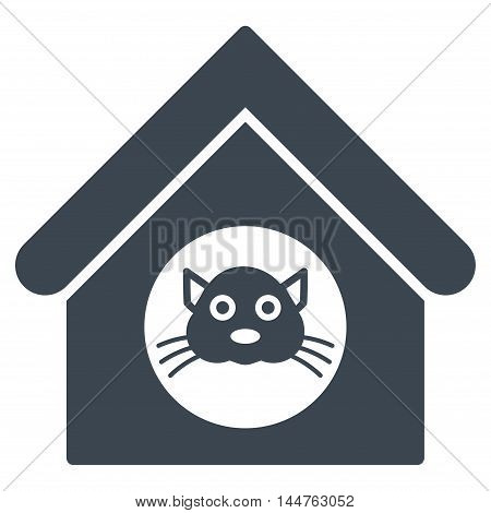 Cat House icon. Vector style is flat iconic symbol, smooth blue color, white background.