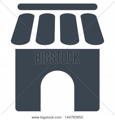 Shop Building icon. Vector style is flat iconic symbol, smooth blue color, white background.