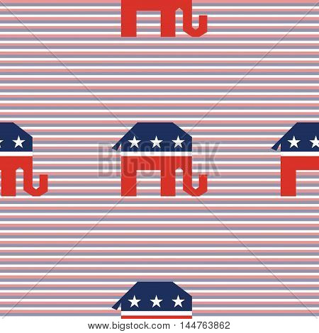 Broken Republican Elephants Seamless Pattern On Red And Blue Diagonal Stripes Background. Usa Presid