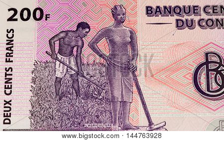 200 Congolese francs bank note of Congo. Congoles franc is the national currency of Congo