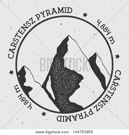 Carstensz Pyramid In Sudirman Range, Indonesia Outdoor Adventure Logo. Round Stamp Vector Insignia.