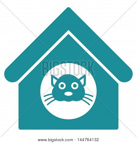Cat House icon. Vector style is flat iconic symbol, soft blue color, white background.