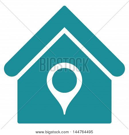 House Location icon. Vector style is flat iconic symbol, soft blue color, white background.