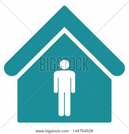 Man Toilet Building icon. Vector style is flat iconic symbol, soft blue color, white background.