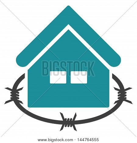 Prison Building icon. Vector style is flat iconic symbol, soft blue color, white background.