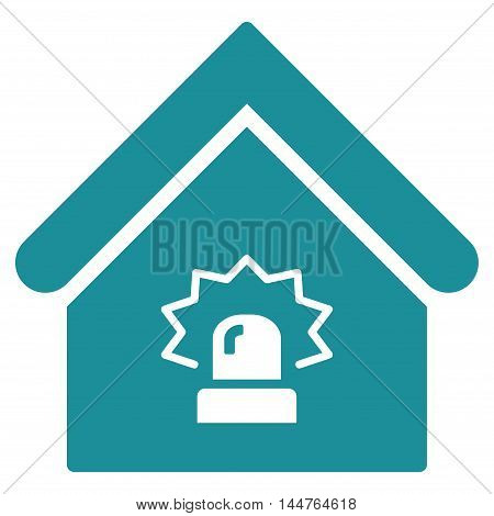 Realty Alarm icon. Vector style is flat iconic symbol, soft blue color, white background.