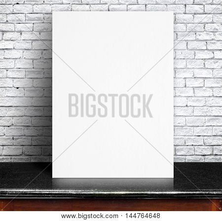 Black White Paper Poster Lean At White Brick Wall And Marble Table,template Mock Up For Adding Your