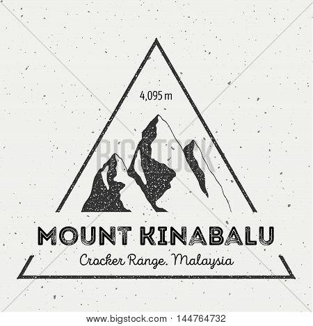 Kinabalu In Crocker Range, Malaysia Outdoor Adventure Logo. Triangular Mountain Vector Insignia. Cli