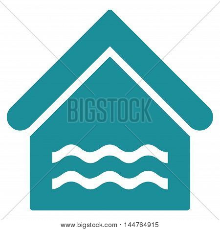 Water Pool icon. Vector style is flat iconic symbol, soft blue color, white background.