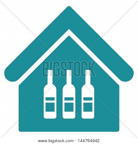 Wine Bar icon. Vector style is flat iconic symbol, soft blue color, white background.