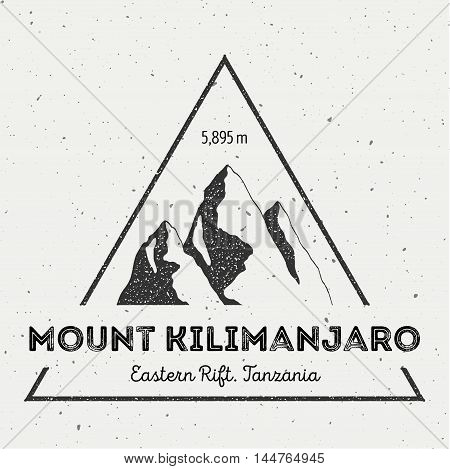 Kilimanjaro In Eastern Rift, Tanzania Outdoor Adventure Logo. Triangular Mountain Vector Insignia. C