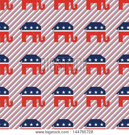 Broken Republican Elephants Seamless Pattern On Red And Blue Stripes Background. Usa Presidential El