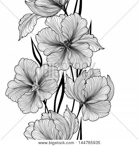 Black and White Flower pattern, Flourish vertical bouquet garland background. Floral seamless texture
