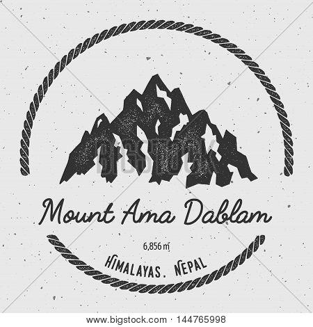 Ama Dablam In Himalayas, Nepal Outdoor Adventure Logo. Round Hiking Vector Insignia. Climbing, Trekk