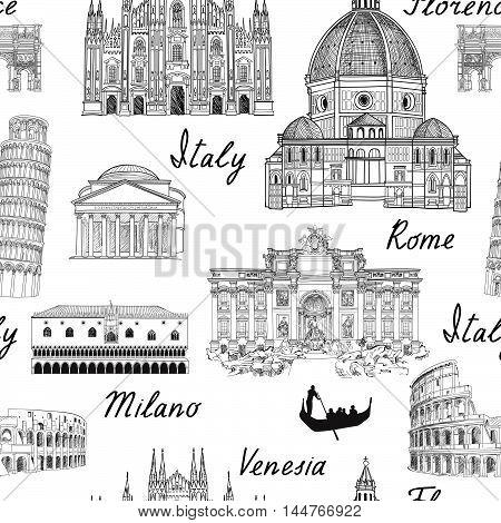 Travel Europe background. Italy famous landmark seamless pattern. Italian city Rome, Milan, Venice, Florence, Pisa architecture travel engraving sketch.