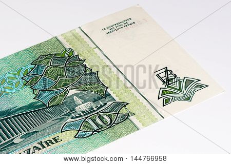 10 Zaire bank note. Zaire is the national currency of Zaire