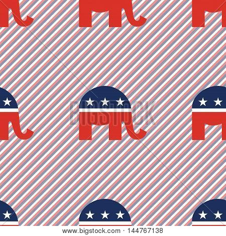 Republican Elephants Seamless Pattern On Red And Blue Stripes Background. Usa Presidential Elections