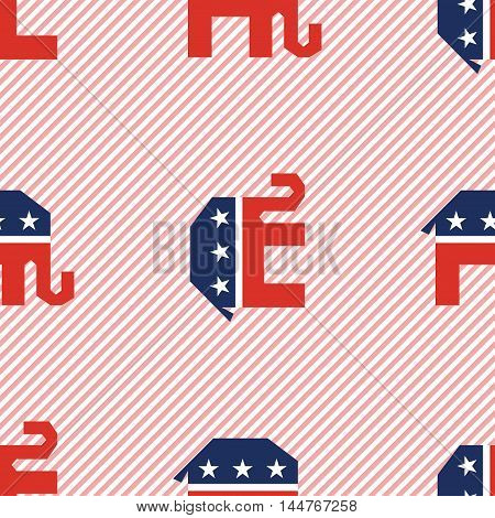 Broken Republican Elephants Seamless Pattern On Red Stripes Background. Usa Presidential Elections P
