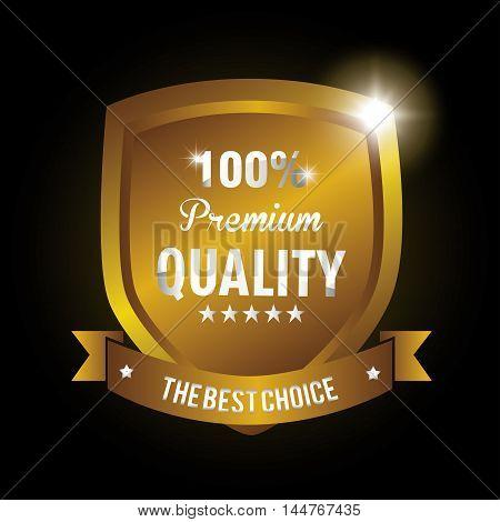 seal guaranteed premium quality gold vector illustration design