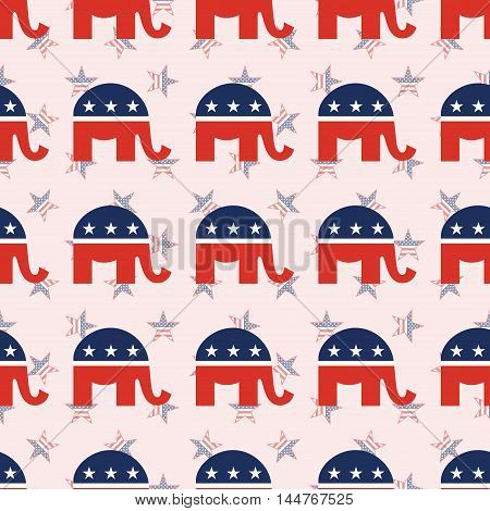 Republican Elephants Seamless Pattern On National Stars Background. Usa Presidential Elections Patri