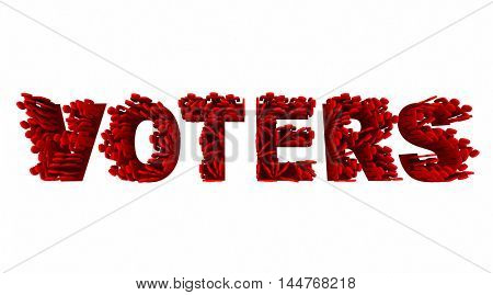Voters People Election Democracy Demo Groups Word 3d Illustration