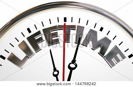 Lifetime Clock Experience Living Span Word 3d Illustration