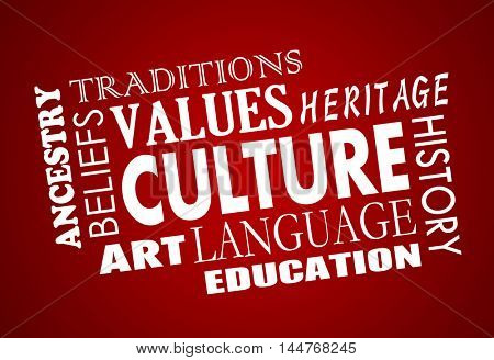 Culture Heritage Diversity Language Word Collage 3d Illustration