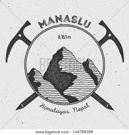 Manaslu In Himalayas, Nepal Outdoor Adventure Logo. Climbing Mountain Vector Insignia. Climbing, Tre
