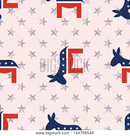Democrat Donkeys Seamless Pattern On National Stars Background. Usa Presidential Elections Patriotic