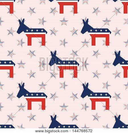 Broken Democrat Donkeys Seamless Pattern On National Stars Background. Usa Presidential Elections Pa