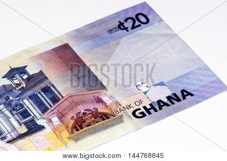 20 Ghana cedi bank note. Ghana cedi is the national currency of Ghana
