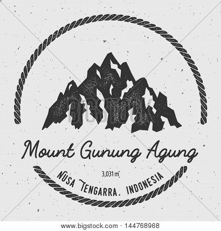 Gunung Agung In Nusa Tengarra, Indonesia Outdoor Adventure Logo. Round Hiking Vector Insignia. Climb