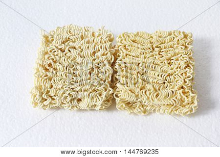 Uncooked Ramen/instant noodle on white isolated background